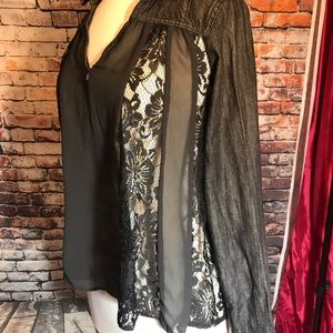 Free People Small Black Open Back Long Sleeve Top